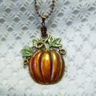 Fall Halloween Pumpkin Large Necklace Hand-painted Autumn Harvest Unique Jewelry
