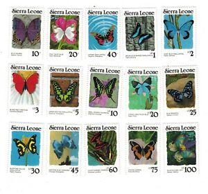 VINTAGE CLASSICS - Sierra Leone 859a-73a Butterflies DEFINITIVE - Set Of 15 -MNH