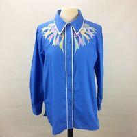Large Women BOB MACKIE Blue Wearable Art Bows Ribbons Shirt Size L G1
