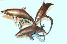 Dolphins Sculpture Bronze Playful 3 Swim Vintage