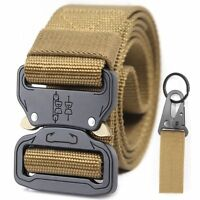 Adjustable Tactical Mens Military Belt Buckle Combat Waistband Brown