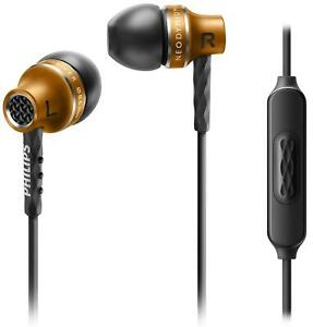 Philips Precision Sound Wired In Ear Headphones with Microphone - Black & Gold