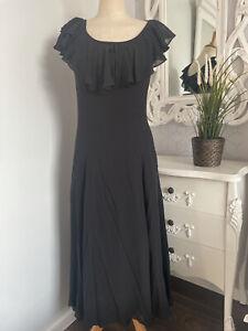 Vintage LAURA ASHLEY Black Pure Silk Floaty Long Evening Dress UK 10