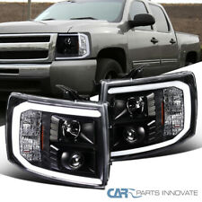 Fit Chevy 07-14 Silverado Pickup LED Bar Black Projector Headlights Left+Right