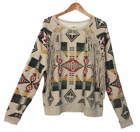 Ralph Lauren Denim & Supply Southwestern Aztec Women's Fringed Sweatshirt  XL TG