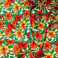 Hawaiian Print Cotton Fabric, Small Gold & Orange Kokio Pua Per 1/2yd or Per Yd