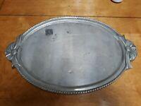 Bow Handle Rustic Handmade Vintage Farmhouse Serving Metal Tray Platter Vanity