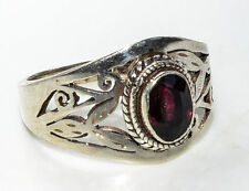 Sterling Silver Traditional Asian Vintage Style Garnet Stone Ring Size Q Gift