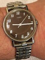 Vintage 1970's Timex mercury Mens Watch Rare Brown Dial