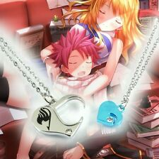2PC Anime Fairy Tail Natsu Dragneel Crystal Loves Heart Necklace Cosplay Pendant