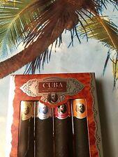 New Brand Perfumes Cuba Set Of 4 Cigars for Men 4X1.17oz Natural Spray France