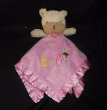 CARTER'S BABY PINK TEDDY BEAR SECURITY BLANKET RATTLE STUFFED PLUSH TOY LOVEY