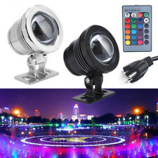 10W RGB LED Light Fountain Pool Pond Spotlight Underwater Waterproof With Remote