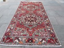 Vintage Shabby Chic Worn Hand Made Traditional Oriental Wool Red Rug 328x155