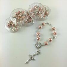 12pc Mini Rosary PINK Bracelet Baptism1st Communion Favors/Recuerdos De Bautizo
