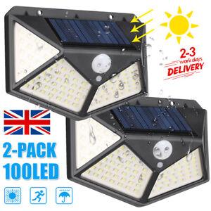 2X 100LED Solar Power PIR Motion Sensor Wall Lights Outdoor Garden Security Lamp