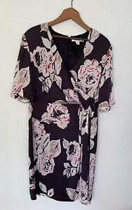 PERRI CUTTEN size 16 half sleeve sheath summer knee length v neck printed dress