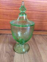 Vintage Green Depression Crackled Jar With Lid