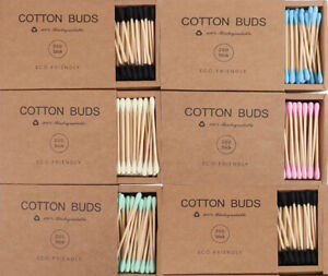 Cotton Swabs Wooden Stick Ear Buds 200ct / Biodegradable Sturdy Bamboo Q-tips