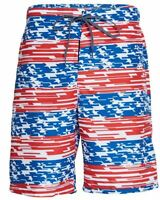 Speedo Swim Trunks American Flag Independence Day Red White Blue Swimsuit Sz L