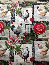 """French Roosters Floral Patch Chickens Farm Country Bty x 44"""" Sew Quilt Fabric ."""