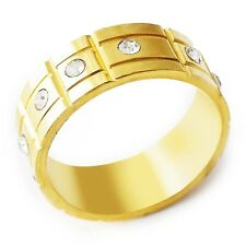 D4573 Shinning Womens Men's Yellow Gold Filled Clear CZ Band Ring Size 8#