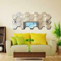 3D Hexagon Mirror Wall Sticker Decal Home Room Decor Removable Art A8R5