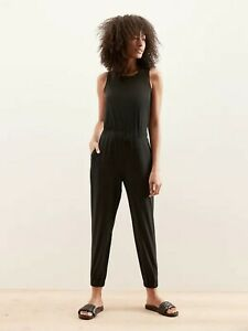 NWT $100 Banana Republic Factory Sz 8 Black Cinched Waist Active Jumpsuit