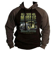 Men's Old School Muscle Charcoal Raglan Hoodie Classic Truck Rat Rod Army Cars