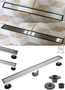 Shower Linear Drain 2 IN 1 Reversible Tile Insert & Flat Grate Drain Base Bundle