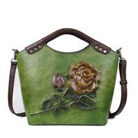 Women Genuine Leather Handbag Rose Vintage Messenger Shoulder Tote Embossed Bag