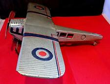 Vintage Tinplate Clockwork RAF Plane, Poss Wells Or Mettoy, England. As Found