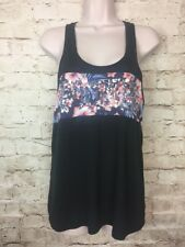 Victoria's Secret PINK Size Small Black Tropical Floral Sequins Tank Top Shirt