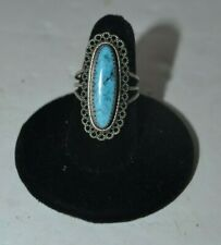 Adjustable Ring Beau Sterling Silver Turquoise Filgree