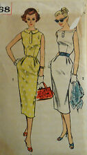 VTG 1950s Simplicity 2068 Elegant Crisp Slim Sheath Dress Misses Size 12 Bust 32