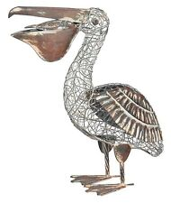 Rustic Metal Pelican Statue Bird Sculpture Yard Art Garden Decor Indoor Outdoor