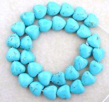 30 Magnesite B Grade Turquoise Smooth 13mm Puffed Heart Chakra Designer Beads