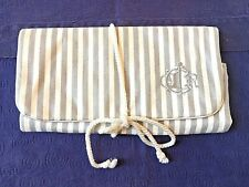 Vintage CHRISTIAN DIOR Gray & White Striped Travel Jewelry/Cosmetic Bag