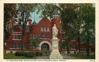 Barre Vermont~Spaulding Senior High School~Robert Burns Monument~1940s Linen PC
