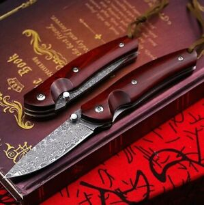 Red sandalwood Damascus steel folding knife pocket folding knife tactical sharp