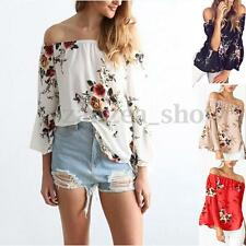 AU 10-20 Womens Off Shoulder Floral Blouse Strapless T-Shirt Casual Loose Tops