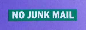 Save the planet  NO JUNK MAIL green PVC sticker . Save your letterbox.