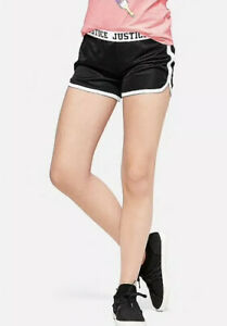NWT Justice Girl's Size 14/16 Fold-over Mesh Shorts Black
