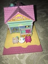 Vintage Polly Pocket Beach Cafe House Complete Bluebird with Dolls Pollyville