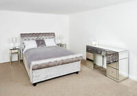 Mirrored Bedroom Furniture Set 7 drawer Dressing Table Set In Silver
