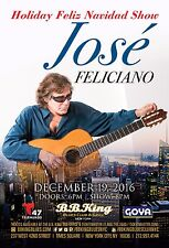 Jose Feliciano 2016 New York City Concert Tour Poster-Latin Pop, Soft Rock Music