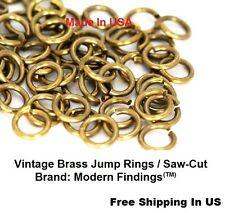 Vintage BRASS JUMP RING 14 GA WIRE 8 MM I/D  Pkg Of 55 - 1 oz