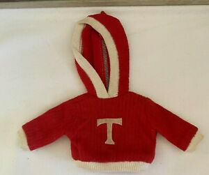 1960s Vintage TAMMY DOLL Tagged RED Hooded Long Sleeve 'T' Jacket Shirt Coat Htf