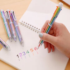 6 in 1 Color Ballpoint Pen Ball Point Multi-color Pens Office Kids School Supply