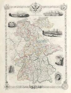 Map of Germany c1851 by Tallis & Rapkin original, colour vignettes fine engraved